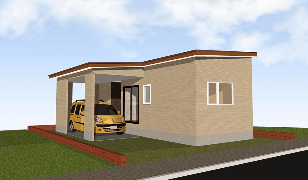 ビルトインガレージ 1LDK 16.5坪 平屋 プラン16坪 狭小 コンパクト