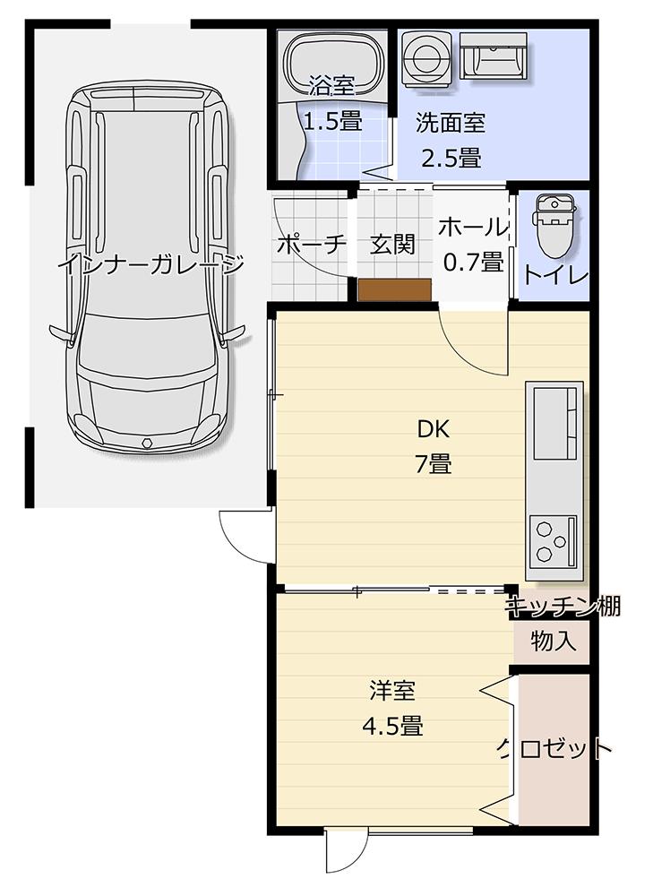 インナーガレージ 1LDK 16.5坪 平屋 プラン16坪 狭小 コンパクト 間取り