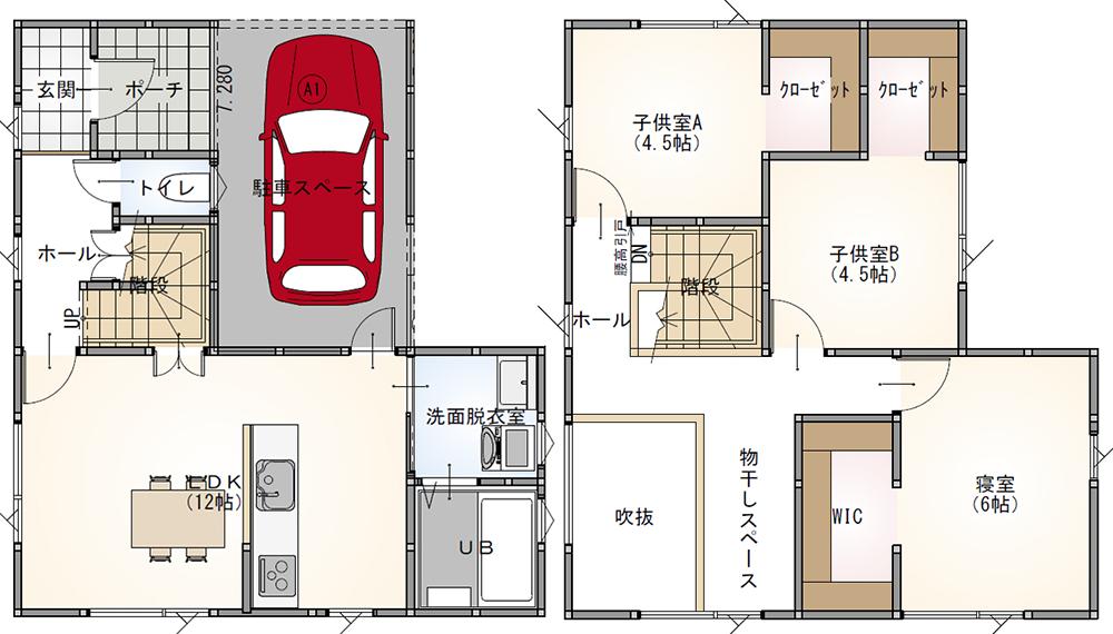 3LDK 28.5坪 インナーガレージ 28坪 新築 プラン 間取り
