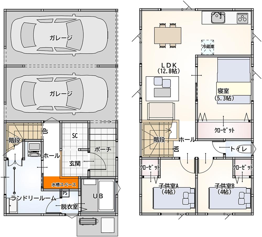 インナーガレージ 3LDK 35坪 新築 プラン 間取り