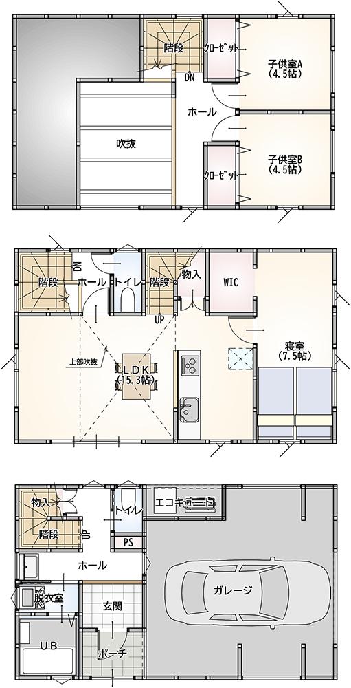 3LDK 36.5坪 36坪 35坪 インナーガレージ 新築 3階建て 間取り
